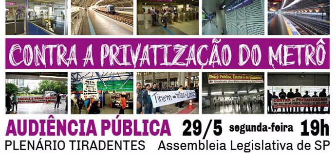 Audiência Pública contra a privatização do Metrô