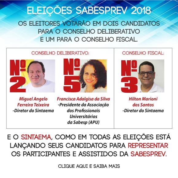 De 1º a 5 de outubro de 2018 serão realizadas as eleições para os representantes dos participantes  nos Conselhos da Sabesprev.