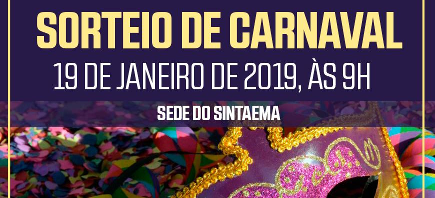 INFORME – SORTEIO DE CARNAVAL DA COLÔNIA DE FÉRIAS