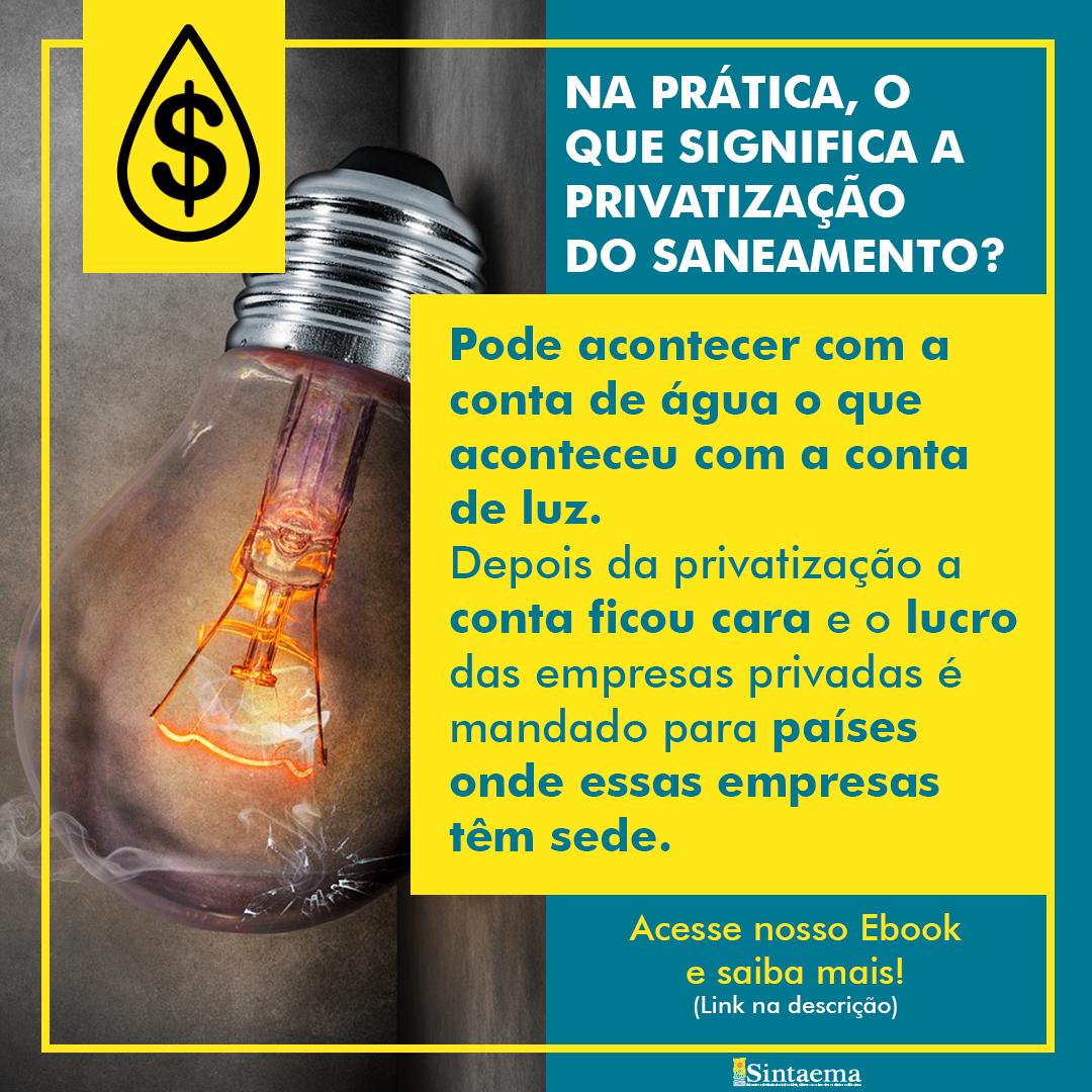 O Sintaema luta diariamente contra a Privatização do Saneamento por ter ciência dos riscos ao povo brasileiro.<br>Acompanhe as notícias e fique informado!