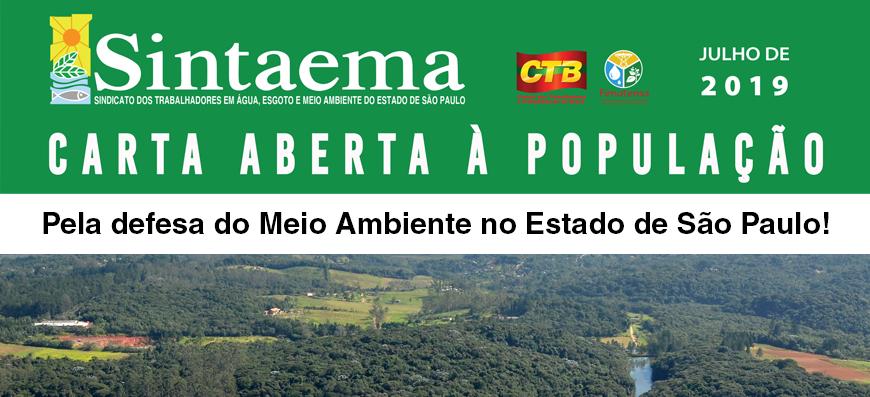 Carta Aberta – Denúncia de descaso com os profissionais e o meio ambiente em São Paulo